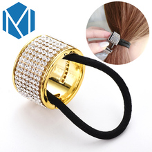 M MISM Women Rhinestone Elastic Hair Band Headband Plastic Hair Cuffs Girls Scrunchy Punk Ponytail Holder Crystal Hair Ring(China)