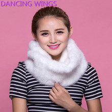 DANCING WINGS Lady Fashion Elegant 100% Genuine Real Import Mink Fur Knitted Ring Style Scarves Winter Warm Casual Fur Scarf
