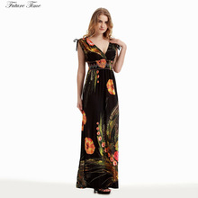 Buy Plus Size Dress Women M-6XL Beach Dress Print Floral Summer 2018 Beach Dress Maxi Boho Dresses Sexy Sleeveless Deep V-neck C1501 for $15.94 in AliExpress store