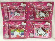 NEW Classic 12 Set Cartoon Hello kitty  Elsa Anna Wristwatch watch and Purses Wallets Set Glasses  Set  Gift Q6