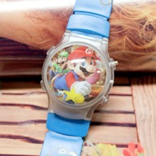 1 Piece Super Mario Funny Boy's Waterball LED Watch With Flashing Light Children Cartoon Character Kids Digital Wristwatches New