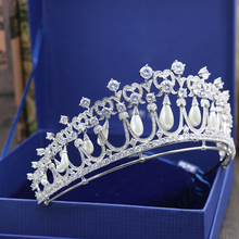 Europen Style Full AAA Cubic Zirconia Princess Crown Micro Inlays Zircon CZ Brides Tiaras Coronet for Wedding Prom Hair Jewelry