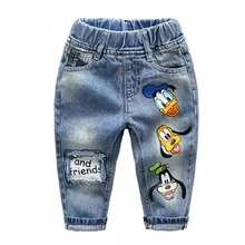 Children's pants 2-7y 2017 spring cartoon ducks patchwork bay boys jeans mickey casual fashion full length kids denim pants