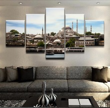 5 Panel Building Istanbul Mosque Canvas Printed Painting For Living Wall Art Home Decorative HD Picture