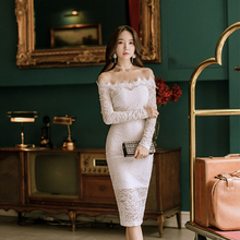 Buy new arrival slash neck slim casual pencil dress women autumn OL sexy elegant shoulder comfortable lace party formal dress for $19.00 in AliExpress store