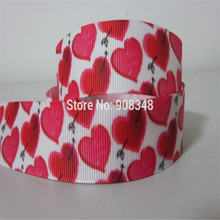 Pick Size 9 16 25 38 50 75 mm width Hearts Valentine Printed Grosgrain Ribbon Hair Bows R809(China)