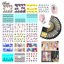 Bittb 2Pc Nail Sticker DIY Beauty Nail Decal Cute Love Heart Flower Various Design Manicure Makeup Tool Nail Art Adhesive Foil(China)
