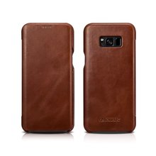 iCarer Luxury Curved Surface Retro Flip Leather Case For Samsung Galaxy S8 S8 Plus Cover Genuine Cowhide Mobile Phone Bag Case