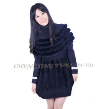 Free Shipping CX-G-B-189C Cheap Fur Vest Knitted Sweater Real Rabbit Fur Sexy Women Vest(China)