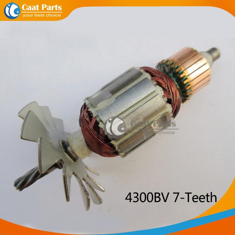 Free shipping!  AC 220V 7-Teeth Drive Shaft Electric Curve saw Armature Rotor for Makita 4300BV , High-quality!<br>