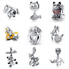 Buy Animal family Authentic 925 Sterling Silver Original Monkey cat Horse Charm Beads Fits Pandora Bracelets beads&Jewelry making for $5.78 in AliExpress store