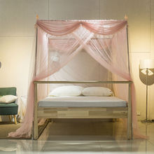 2017 Stainless Steel Mosquito Net for Double Bed Three Door Palace Mosquito Net Bedding Curtains Bed Canopies Adults Bed Canopy(China)