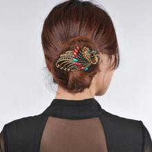 Female Peacock Hair Clip Headwear Women Hair Clips Blue Hairpin Vintage Rhinestone Jewelry 4.7x2.3 inch(China)
