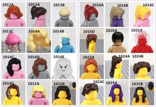 100pcs\lot Female Hair Black Short Hair Brown Long Hair Model Action Figure Toy Kids Educational Building Blocks Assembled Toys(China)