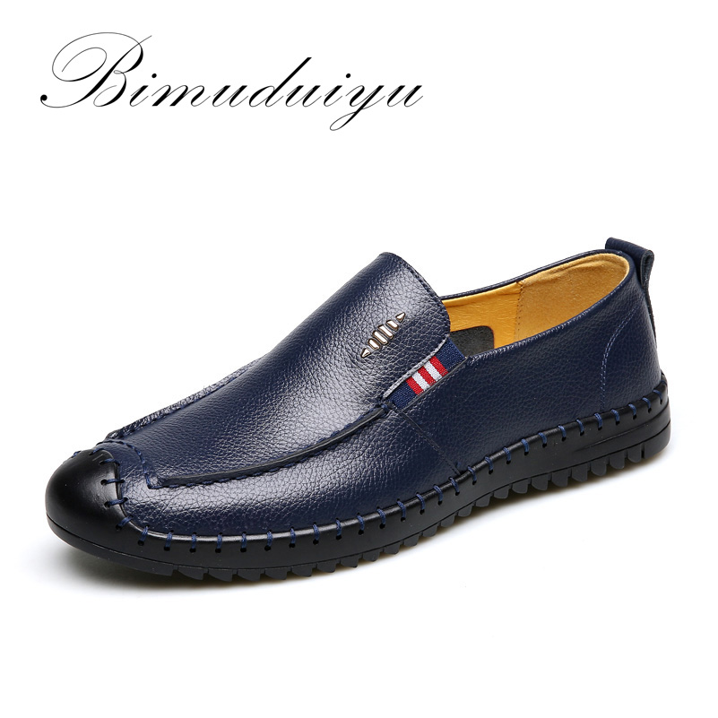 BIMUDUIYU Brand Really Leather Springtime New Style Men Casual Shoes Soft Light Massage Walking Driving Breathable Flat Shoes<br>