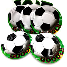 10PCS/LOT NEW FOOTBALL PLATES FOOTBALL DISHES KIDS BIRTHDAY PARTY FAVORS HAPPY BIRTHDAY PARTY SUPPLIES SOCCER PAPER PLATE