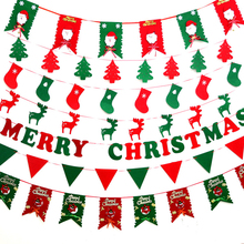 Christmas Flags Santa Clause Floral Bunting Banners Merry Christmas Decoration Shop Market Home Party DIY Decoration ZM