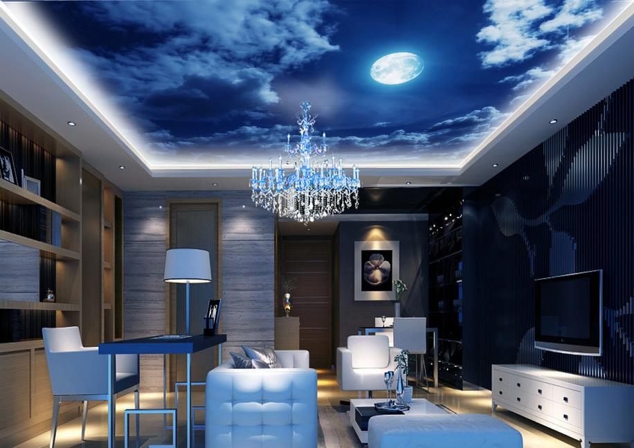 customized 3d ceiling living room 3d wallpaper murals ceiling Romantic night sky Non-woven ceiling wall paper<br><br>Aliexpress