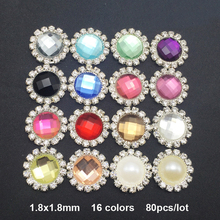 80pcs/lot 18MM Fashion Flower Shape Crystal Rhinestone Buttons Flatback Rhinestone Embellishments 16 Colors Mix DIY Boutons