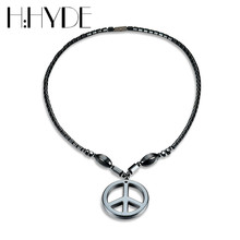 H:HYDE Unisex 2017 New Arrival Punk Style Black Round Pendant Magnetic Hematite Necklaces For Women Men Statement Necklace(China)