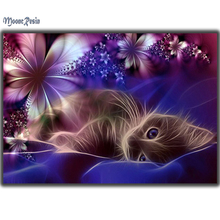 3D Diy Diamond Embroidery 5D Diamond Painting Cross Stitch Flower Cat Diamond Mosaic Square Full Drill Resin Pattern Rhinestones(China)