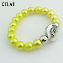 wholesale hand-made Elastic bracelet  yellow  peral  18mm snap button bracelet  lot  for  snap button jewelry