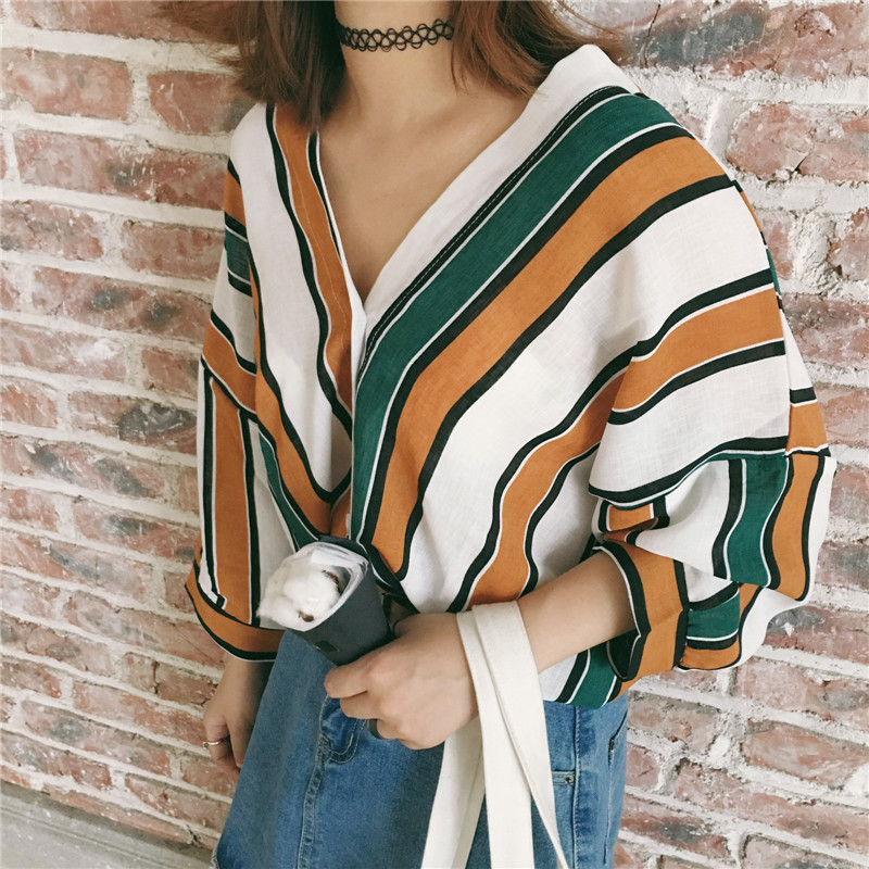 Summer-Casual-Women-Shirts-Three-Quarter-Sleeve-Loose-Striped-V-Neck-Korea-Bats-Blouse-Shirt-Blue