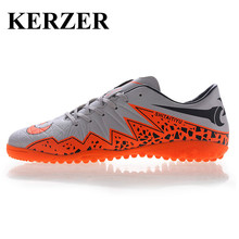 Hot Man Kids Sports Indoor Football Shoes Gray/Blue Soccer Boot Turf Cleats Cheap Soccer Shoes Leather Football Trainers