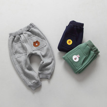 Autumn and winter Korean version of children 's clothing LINE cotton  clothing Fleece boys and girls baby leisure trousers 2-6T