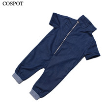 Buy Baby Boys Summer Rompers Boy Cotton Plain Blue Jumpsuit Newborn Fashion Jeans Pajamas 2017 New Free 15C for $7.64 in AliExpress store
