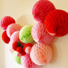 10pcs/lot Pastel Tissue Paper Honeycomb Ball Decorations Craft Supplies Party Wedding Holiday Event Party Supplies  HG0241