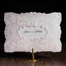 Wishmade Classic White European Style Flower Figure Design Wedding Invitation Card Elegant Laser Cut Greeting Cards cw5230