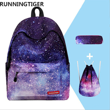 RUNNINGTIGER 3pcs Sets Girls School Bags Women Printing Backpack School Bags For Teenager Girls Shoulder Drawstring Bag