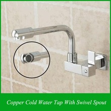 Copper Chrome Single Cold Tap With Swivel Spout And Swivel Aerator Bathroom Tapware(China)