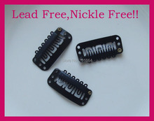 "20PCS Black 32mm 1.25"" Plain Metal Extension hair clips for hairpiece clip findings at lead free and nickle free quality"