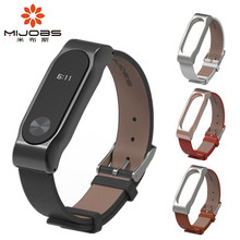 Xiaomi Mi Band 2 Leather Strap with Screen Film Screwless Bracelet For Original Miband 2 OLED Wristbands Black Brown White Red(China)