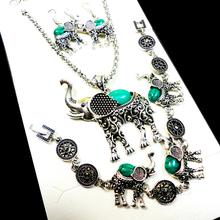Fashion Jewelry lot Hot major Vintage Antique Silver Elephant Necklace Pendant Earring For Women Jewelry Sets LR140