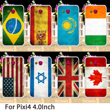 Plastic Phone Cases For alcatel OneTouch Pixi 4 4.0 inch OT4034 4034E 4034F 3G Covers UK Russia Flags Back Bags Cover Housing