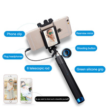 New Super Mini 2015 Nova Extensivel Self Selfie Stick Monopod Cable Holder for iPhone Android smartphone monopod mirror(China)
