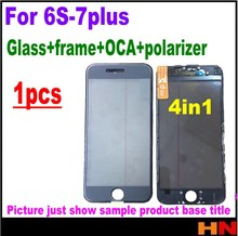 1pcs 4in 1 cold press For iPhone 6s 7 7p Plus lcd Outer Front Touch Screen Glass Lens with Frame Bezel OCA polarizer(China)