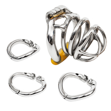 Buy Include 3 Rings Ergonomic Design Male Chastity Device,Easy Wear Stainless Steel Cock Cage,Penis Ring Chastity Belt Lock S051