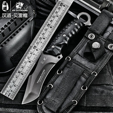 HX outdoors High quality tactical knife multi tool surface plated titanium Fixed black Knife Camping Tool survival hunting knive(China)