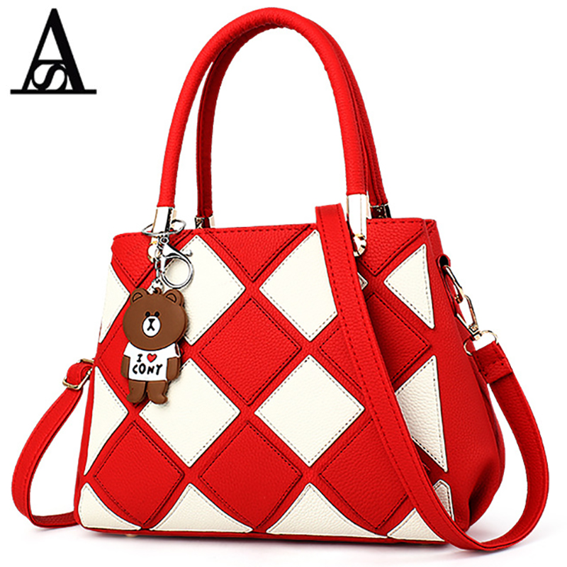 AITESEN Rhombus Teddy Bear Pendant Single Shoulder Amelie Purse Handbag Cute Oblique Crossbody Package Cartera Y Bolsos De Mujer<br>