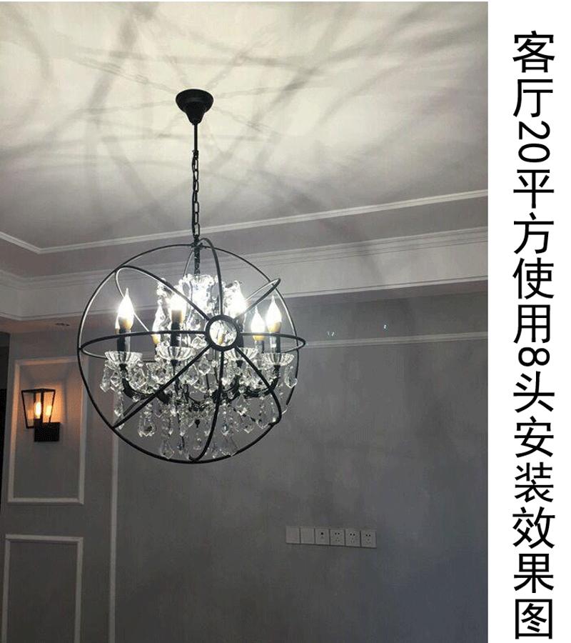 Retro pendant crystal iron ball shape Lamp E14 Nordic industry Vintage Loft american country Art _1Ceiling Lamp-17
