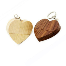 LOGO customized wooden Heart USB Flash Drive Pendrive 64GB 32GB 16GB 8GB U Disk USB 2.0 Memory Stick photography wedding gifts
