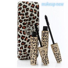 2pcs=1set Wild Leopard brand Mascara 3D FIBER LASHES Love Like Alpha Waterproof Transplanting Gel&Natural Make Up Cosmetics set