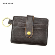 Slim Credit Card Holders with Key Ring Genuine Leather Mini Card Holder Purse Small Men Wallets Credit Card Holder for Men(China)