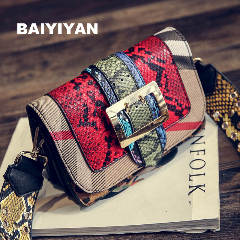 2017 Stylish Serpentine Bag Women Small Bolsa Feminina Flap Messenger Bag High quality Ladies two Chain Bag Snake Pattern Style<br><br>Aliexpress
