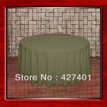 "Hot Sale  132"" R Olive Round Table Cloth Polyester Plain Table Cover for Wedding Events &Party Decoration(Supplier)"