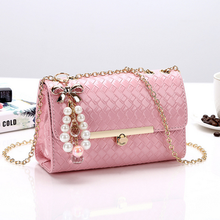 by dhl or ems 50pcs 2017 New Envelope Woven Women Messenger Bag Korean Candy Girls Sweet Knitting Shoulder Bag with Pendant(China)